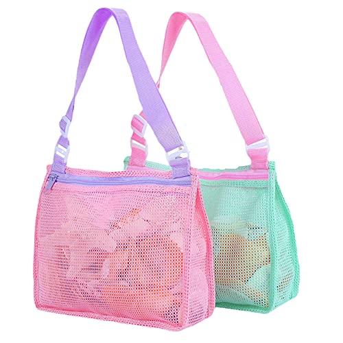 2PC Mesh Beach Bag für Kinder - Shell Sammeltasche Beach Sand Toy Totes Bag für Outdoor-Schwimmbad Kinder- und Kinderspielzeug Reisetücher Sand Away Organizer Aufbewahrungstaschen für Mädchen Jungen