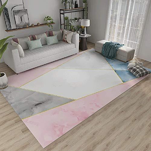 La alfombras alfombras para Cocina Alfombra Duradera de diseño geométrico Azul Gris Rosa Antideslizante Alfombra habitacion Bebe Alfombra Bebe 200X300CM
