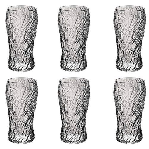 LQIQI Copas De Vino Tinto Cristal Vintage Copas De Vino Personalizadas para Regalar Martillado A Mano Vaso De Whisky Creativo Taza De Agua Resistente Al Calor 6Unidades Juego De Accesorios De Vino