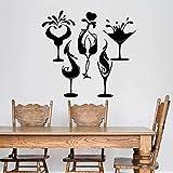 HGFDHG Etiqueta de la Pared Alcohol Bar Fiesta Copa de Vino Vinilo Etiqueta de la Ventana Tienda de Bebidas Restaurante Interior Arte Decorativo Mural