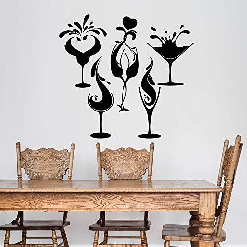 HGFDHG Adesivo murale Alcol Bar Festa Bicchiere da Vino Adesivo per finestre in Vinile Negozio di Bevande Ristorante Arte Decorativa Interna Murale