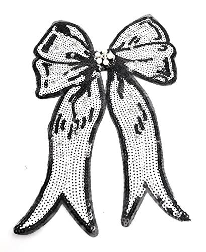 Gran aplicación de plancha, diseño de lazo negro, 19,5 x 30 cm, con lentejuelas y perlas ocupadas, parche...