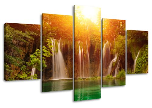 Visario tela immagini 5503 - Quadro su tela, motivo cascata, 160 x 80 cm, 5 pezzi, altri, legno