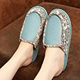 Zapatillas Mujer Casa,Zapatillas para Mujer Invierno Retro Azul PU Cuero Patrón De Costura Cierre Étnico Suave Y Cálido Piso Zapatilla Pantuflas Mullidas Lavables Antideslizantes Interiores Zapat