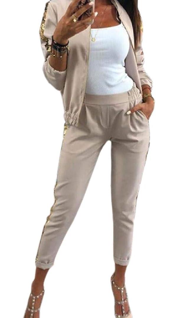 気づかない磁器広告女性アクティブスポーツアウトドアスウェットシャツスーツトラックスーツスウェットパンツ2ピースセット