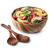 Acacia Wood Salad Bowl with Servers Set - Large 9.4 inches Solid Hardwood Salad Wooden Bowl with Spoon for Fruits,Salads and Decoration by AVAMI