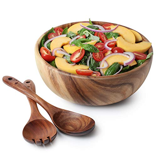 Acacia Wood Salad Bowl with Servers Set - Large 10 inches Solid Hardwood Salad Wooden Bowl with Spoon for Fruits,Salads and Decoration by AVAMI