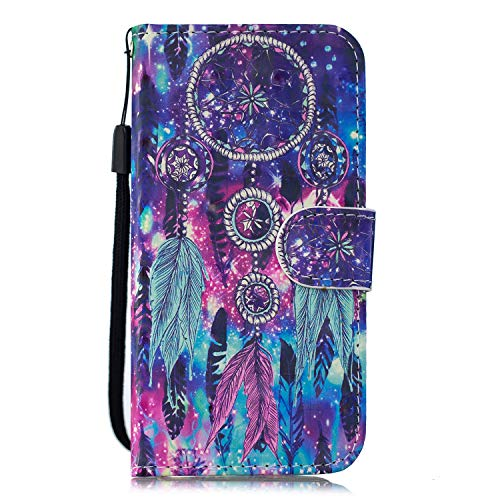 iPhone 12 Mini Case, Shockproof Wallet Phone Cover 3D Painted PU Leather Flip Folio TPU Bumper Slim Fit Protective Case for iPhone 12 Mini with Magnetic Buckle Stand Card Holder, Dream Catcher