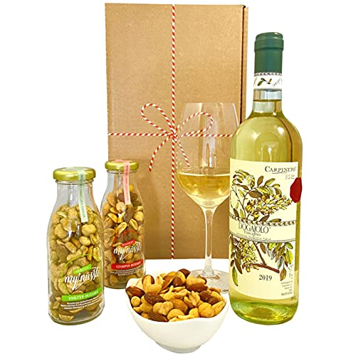 Geschenkset Toskana   Italien Geschenkkorb mit Wein und 2x Nussmischungen im Glas   Italienischer Präsentkorb mit Weißwein für Weinliebhaber