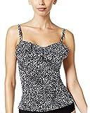 Island Escape Women's Spotted Print Convertible Tankini Top (Black/White, 8)
