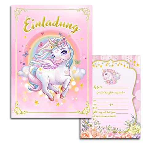 10x Kinder Einladungskarten Einladung Kindergeburtstag Mädchen Einhorn Unicorn Pegasus Geburtstag Rosa Blumen Rosen10x15 cm Party Kinder