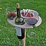 VCMUTRL Mini tragbarer hölzerner Weintisch für Picknick-Reisecamping, runder Faltbarer Mini-Picknicktisch für Weinflasche und Weingläser, 2 Personen Mini-Desktop für Strand-Sandrasen
