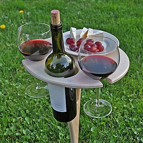 Hpory Outdoor Weintisch Holz Weinregal für Picknick, Klappbar Stecktisch Gartentisch Outdoor Campingtisch Runden Desktop Tragbar Weinhalter für Wein, Champagner Picknick-30cmx20cm