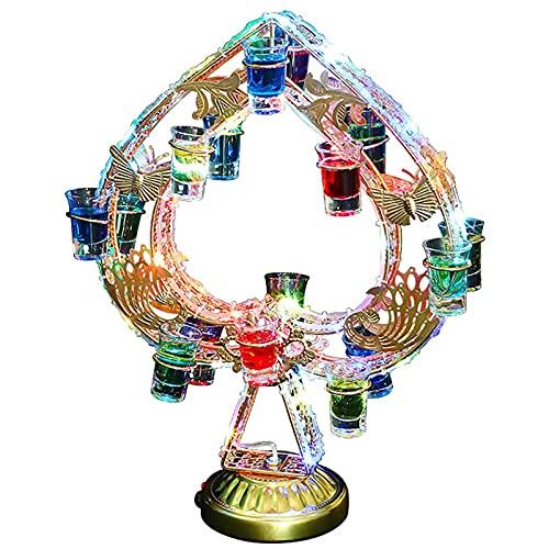 Botelleros LHA Soporte Copas Vino Led Estante Exhibición Almacenamiento Estante Vino Acrílico Luminoso Colorido para Bar Restaurante (con 18 Tazas), 38x51 cm