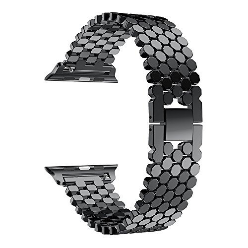Für iWatch Armband 42mm AISPORTS Apple Watch Armband 42mm Edelstahl Smart Watch Band Ersatzarmband mit Armbandschnalle Schließe Armband für 42mm iWatch Serie 3/2/1 Sport Edition - Schwarz