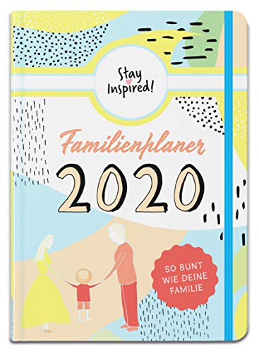 Familienplaner 2020 Hardcover mit 5 Spalten für bis zu 5 Personen in DIN A5. Familienkalender 2020 mit Extra-Seiten für viel Platz zur Essensplanung, ToDo-Listen, Notizen und Monatsübersicht