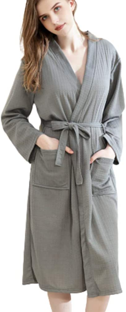 TYXQ Women's Solid Color Robe Nightgown Courier shipping free shipping Adjustable Double-Pocket 2021 model