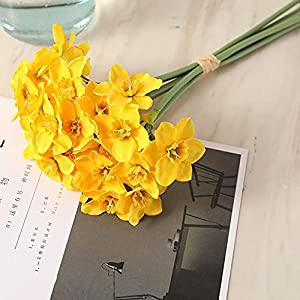 Silk Flower Arrangements Artificial Narcissus Flower Bouquet Home Decoration Fake Desktop Flowers Wedding Scene Decor,Yellow