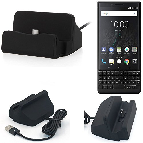 K-S-Trade Dockinsgstation Für BlackBerry KEY2 (Dual-SIM) Ladestation Dock Ladegerät Docking Station Inkl. USB Typ C Kabel Schwarz