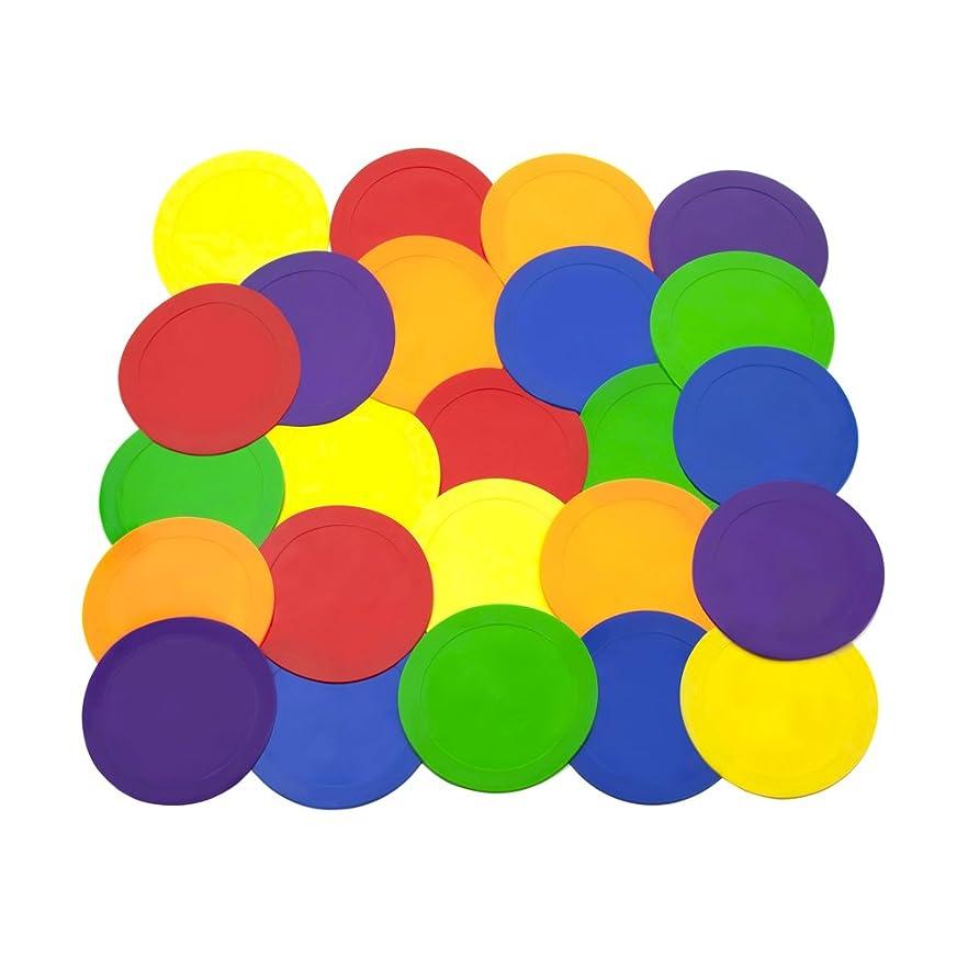 長方形ピッチ広まったAce Creations 23cm Poly Vinyl Spot Markers - For Training and Drills - Set of 24 - Four of Each Red, Green, Orange, Purple, Blue, and Yellow
