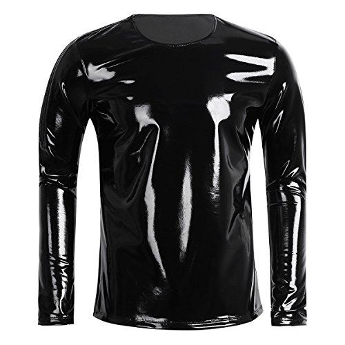 YiZYiF Herren Männer T-Shirt Langarm Tops Latex-Look Unterhemd Muskelshirt Stretch Glänzend Clubwear M-XXL (XX-Large, Schwarz)