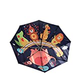 CROW Vollautomatischer Regenschirm, dreifacher Regenschirm, schwarzer Sonnenschutz und UV-Schutzschirm mit doppeltem Verwendungszweck, Unisex-Regenschirm, gemeinsamer Regenschirm, Klappschirm-C1