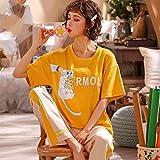 Pijama Para Mujer,Ratón Comer Pizza Impreso Algodón Pjs Pijama Set De Manga Corta Pantalones Largos Pantalones Verano Loungewear Ropa De Noche Delgada Jogging Ropa De Hogar Para Adultos Damas Traje