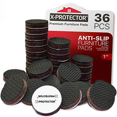 Protectores de piso X-PROTECTOR - 36 Piezas 25 mm almohadillas antideslizantes - Patas de goma premium - La almohadilla antideslizante de alta calidad - ¡Deje que sus muebles se mantengan en su lugar!