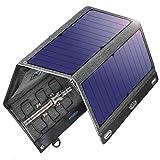VITCOCO Solar Ladegerät Solarpanel Tragbares 29W Solar Powerbank Outdoor Solarladegeräte 2 Port USB 12V DC Eingangsspannung Wasserdicht Faltbar Camping Kompatibel mit Allen Handys Kamera Tablet usw.