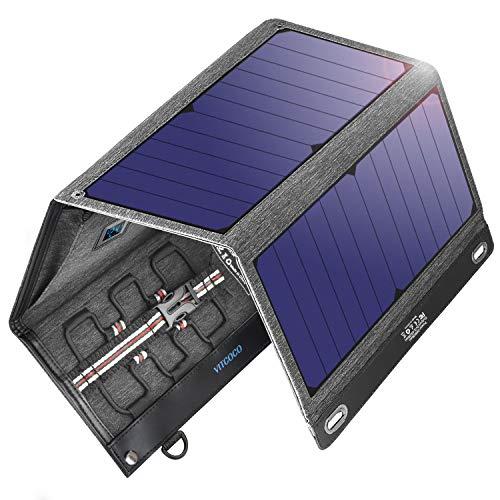 VITCOCO Caricabatterie Solare Portatile, 29W Pannelli Solari Dual-Port USB Impermeabile Portatile Pannello Solare Pieghevole per Smartphone, Tablet, A