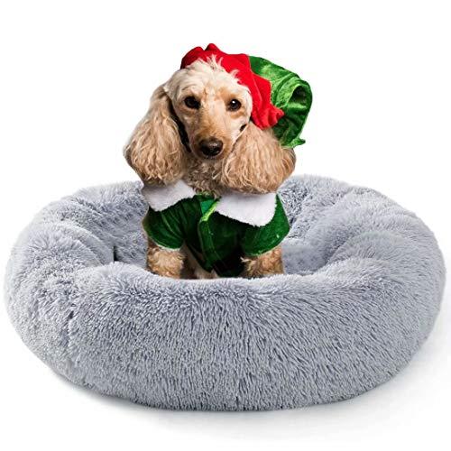 Fangqiyi Deluxe-Haustierbett,Kuschelkissen Hunde und Katzen,Bequem und atmungsaktiv,Mit Reißverschluss, abnehmbar waschbar,für Für kleine, mittlere und große Hunde Grau,60 * 60cm