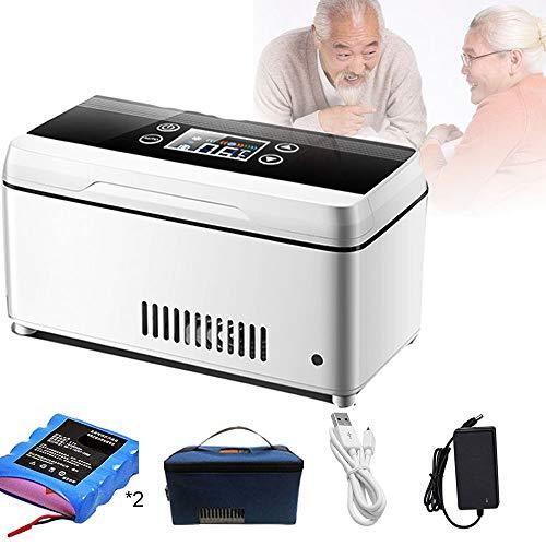 GGMWDSN Nevera Portatil Insulina, Refrigerador de Medicina Ultra Silencioso Refrigerador de Insulina PortáTil, para AutomóViles, Viajes, Refrigeradores de Medicamentos de 2 A 8 ° C, Blanco