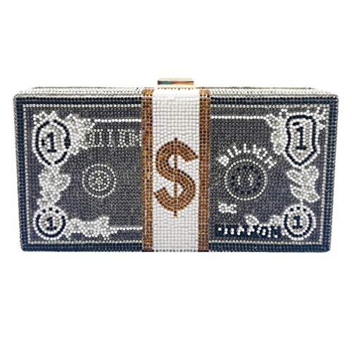 VALICLUD Dames Pochette Sac à Main Mode Strass Dollar...