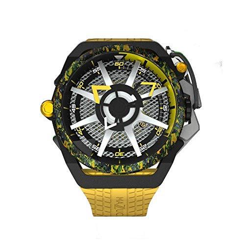 Mazzucato Reloj automático reversible Monza para hombre, 48 mm, esfera negra con correa de silicona, edición limitada F1-YWBLK