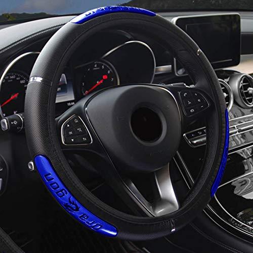 Couvre volant en cuir PU réfléchissant Chine Dragon Design Mode Sport Style voiture couvre (Couleur : Bleu)