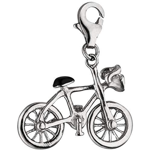 Colgante de bicicleta colgante Charm Bangle plata 925 con barniz, blanco y...