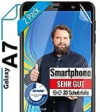 [2 Stück] 3D Schutzfolien kompatibel mit Samsung Galaxy A7 (2018) - [Made in Germany - TÜV NORD] - HD Bildschirmschutz-Folie - Hüllenfre&lich – Transparent – kein Schutz-Glas - Panzer-Folie TPU