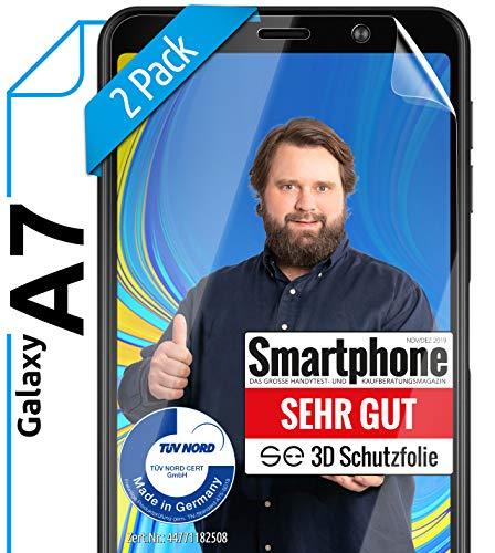 [2 Stück] 3D Schutzfolien kompatibel mit Samsung Galaxy A7 (2018) - [Made in Germany - TÜV NORD] - HD Displayschutz-Folie - Hüllenfreundlich – Transparent – kein Schutz-Glas - Panzer-Folie TPU