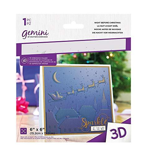 Crafter's Companion Gemini 3D-Prägeschablone, 15,2 x 15,2 cm, Motiv: Nacht vor Weihnachten, Einheitsgröße
