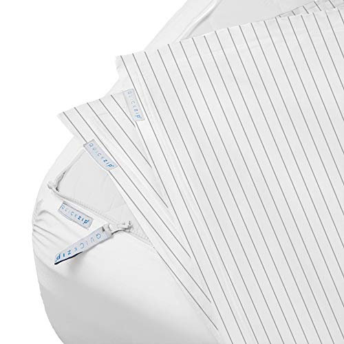 """QuickZip Fitted Sheet - Includes 1 White Fitted Sheet Base & 2 Gray Pinstripe Zip-On Sheets - Easy to Change, Won't Pop Off Queen Sized Sheet – Sateen 400 TC Cotton Fitted Sheets - 16"""" Deep Pockets"""