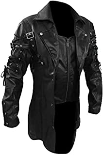 معطف رجالي من الجلد الصناعي باللون الأسود الخالصة من Matrix Steampunk Gothic