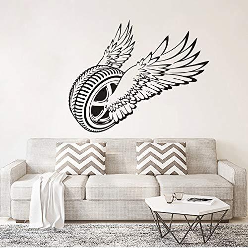 sanzangtang Autorad Vinyl Wandaufkleber magische Reifen fliegen Wandkunst Aufkleber Auto Autoreifen Service,63x51cm