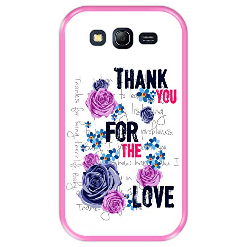 Hapdey Custodia per [ Samsung Galaxy Grand Neo - Neo Plus ] Disegni [ Motivo Floreale, Grazie per L'Amore ] Cover Guscio in Silicone Flessibile Rosa TPU