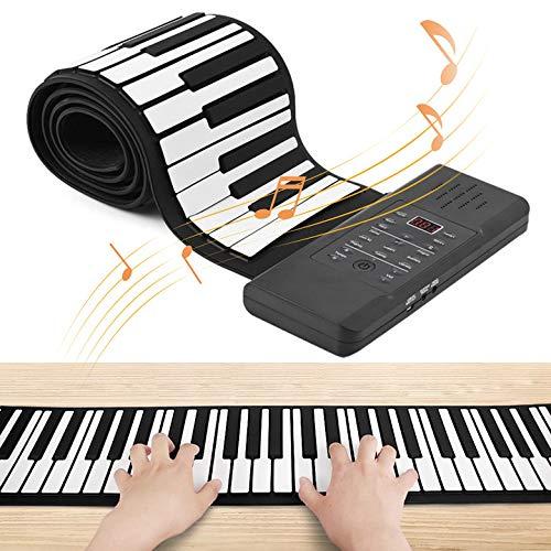 Kacsoo Tastatur Klavier 88 Tasten Silikon Flexible Roll Up Klavier Faltbare Keyboard Handwalzen Klavier Digitale Klaviere Wiederaufladbar Bestes Geschenk für Kinder,Anfänger,Familie,Freunde