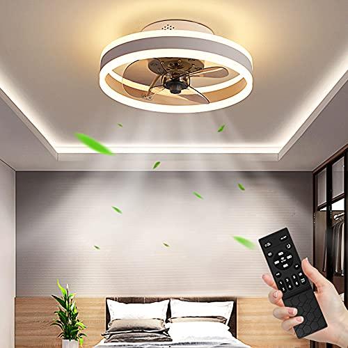 Ventilador de Techo con Control Remoto 48W Regulable Lámpara de Techo 3 Temperaturas de color y 6 Velocidades, Ultra Silencioso Lámpara de Ventilador, Luz de Techo para Dormitorio Restaurante Ø40cm
