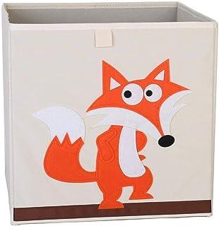 ZXXFR Panier À Linge Sale,Cute Cartoon Fox Brodé Tissu Oxford Cubes Broderie Animaux Boîte De Rangement Pliable Organisate...