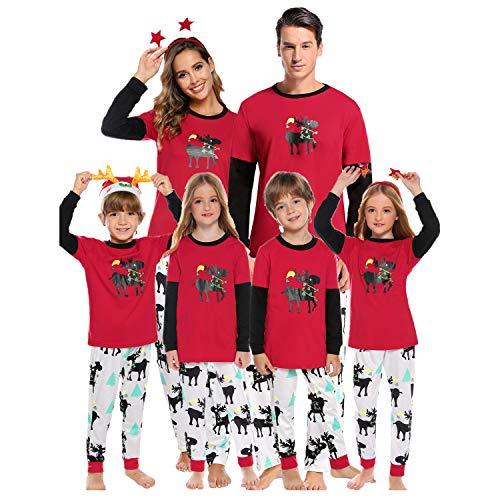 Abollria Set Pigiama Famiglia Natale, Pigiama Natalizio Famiglia Colore Rosso, Stampa Di Renna Pigiami Famiglia Coordinati Per Mamma Papà Bambini (Mamma:Small, Modello Con Renna)