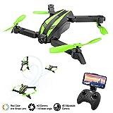 MROSW Quadcopter Mini Drohnen Weitwinkelkamera RC Hubschrauber Drohne X Pro Faltbare Fernbedienung Einfache Drohnen mit 480P HD Kamera