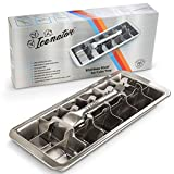 Easy Removal Metal Ice Trays with Handle - 18/8 Stainless Steel Ice Cube Maker and Tray, 18 Slot Mold - BPA-Free, Food-Grade Freezer Molds for Baby Food, Juice, Popsicles, Alcoholic Drinks