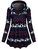 BLEVONH Women V Neck Hooded Sweatshirt Long Sleeve Empire Waist Tops Tunic (Navy Blue, Large)